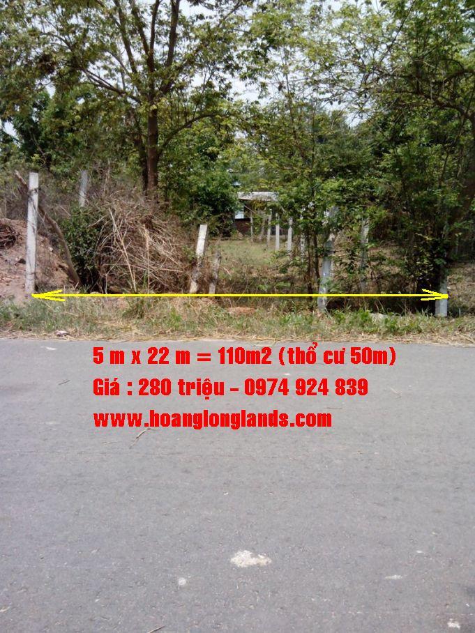 Đất thổ cư củ chi,đất rẻ củ chi 110m2 [280 triệu], 50m thổ cư , Xã Tân Phú Trung,H Củ Chi,TP Hồ Chí Minh.