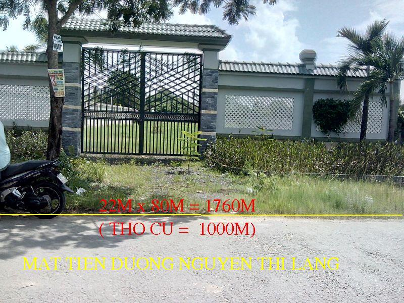 Bán 1.760m2(1.000m2 thổ cư) đất mặt tiền Nguyễn thị Lắng-Tân Phú Trung-CỦ CHI. giá : 2Triệu/m2. LH chị Lành 0974 924 839