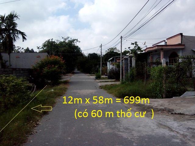 Bán đất củ chi 699m2 mặt tiền đường Phạm Phú Tiết ,khu phố 3,thị trấn Củ Chi giá 1 tỷ 350 triệu